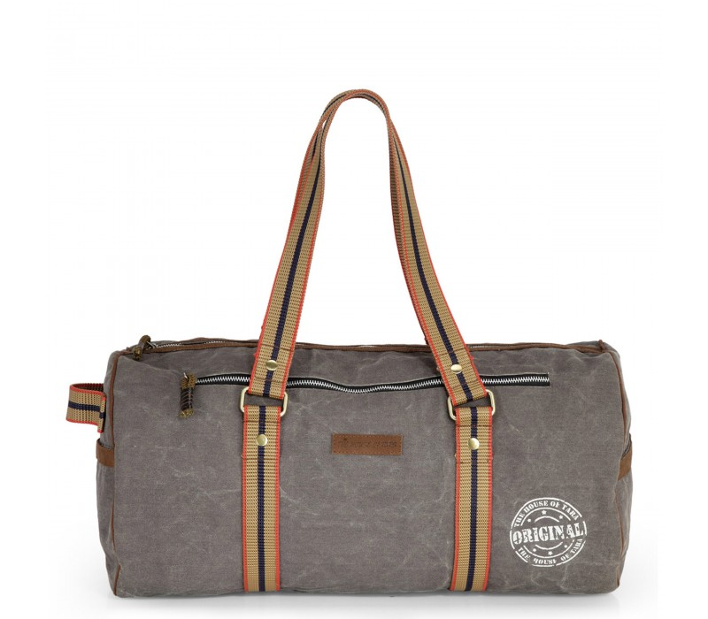 Distress Finish Canvas Duffle Bag  (Stone Grey)