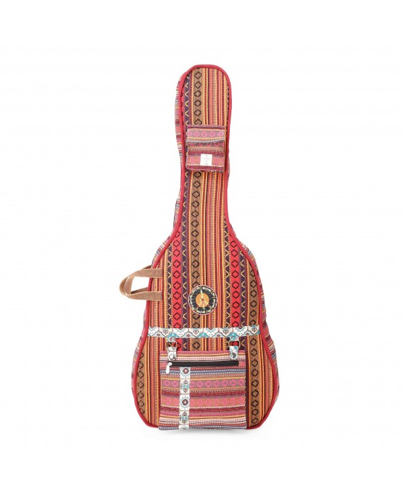 Brown Multi Patterned Handloom Fabric Guitar Bag Case for Men and Women