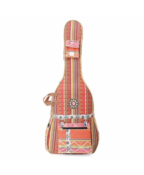 Red Multi Patterned Handloom Fabric Guitar Bag Case for Men and Women