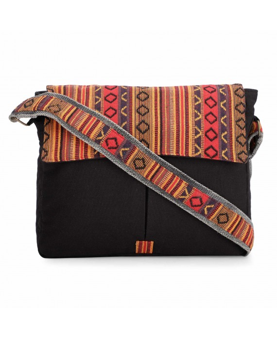 Black and Brown Crossbody Canvas Messenger Sling Bag with Handloom Fabric Flap for Women (HTMB 120)