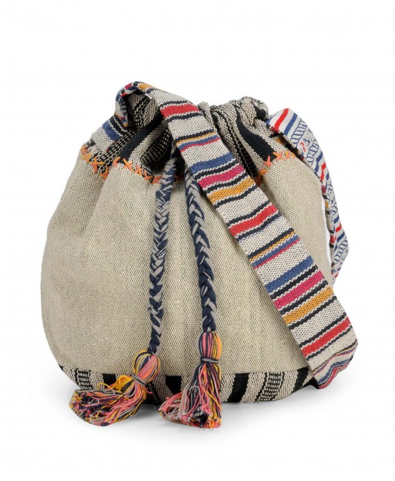 Handloom Fabric Crossbody Bucket Bag.