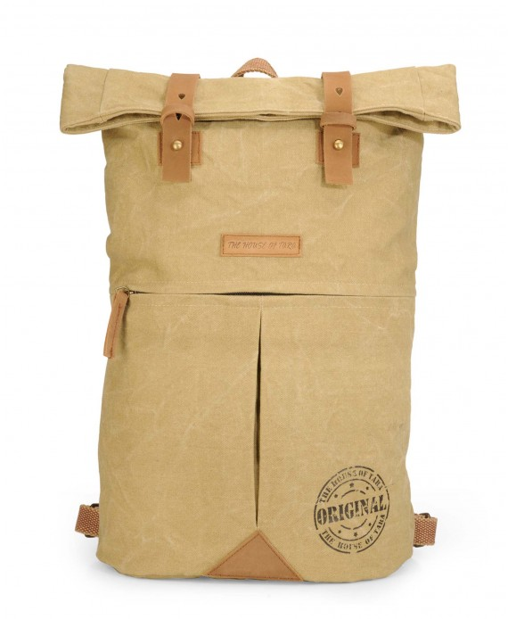 Distress Finish Canvas Backpack (Desert Storm)