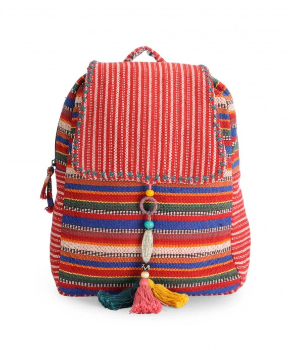 Handloom Fabric Stylish Everyday Backpack.