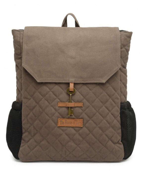 Quilted Canvas Backpack (Taupe Grey) HTBP 179