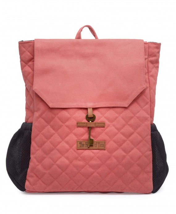 Quilted Canvas Backpack (Coral Pink) HTBP 182