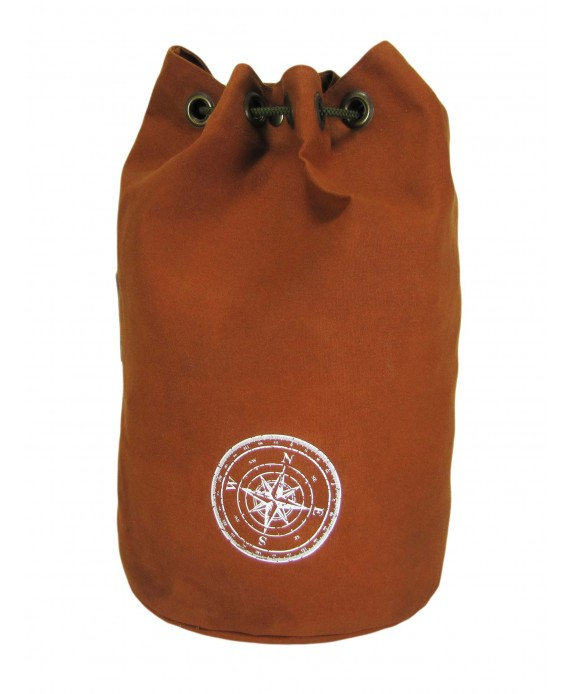 Wax Coated Cotton Canvas Backpack (Rust Color)