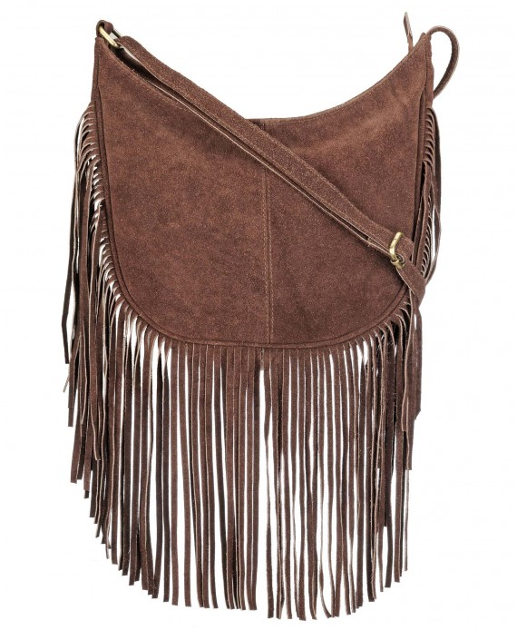 Leather Suede Cross Body Fringe Bag (Wine)