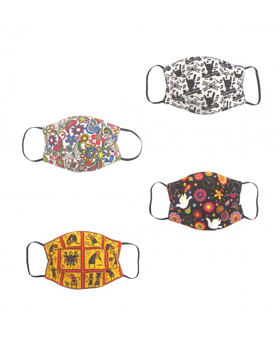 Three Layer Woven Fabric Virus Protection Washable Face Mask with Printed Design for Men, Women and Kids - Set of 4