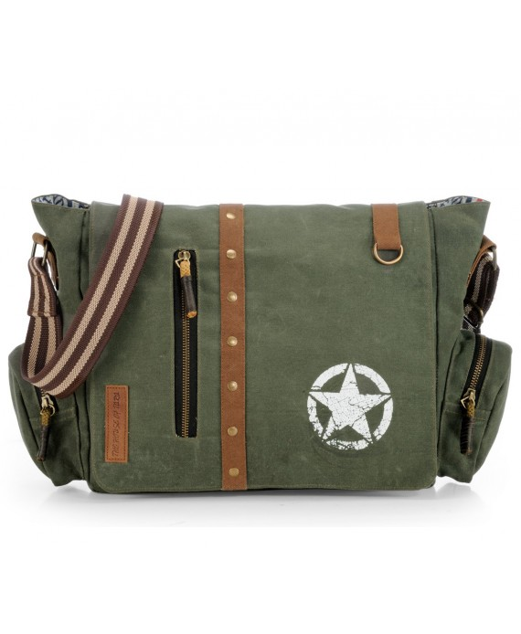 Canvas Crossbody Messenger Bag (Moss Green)