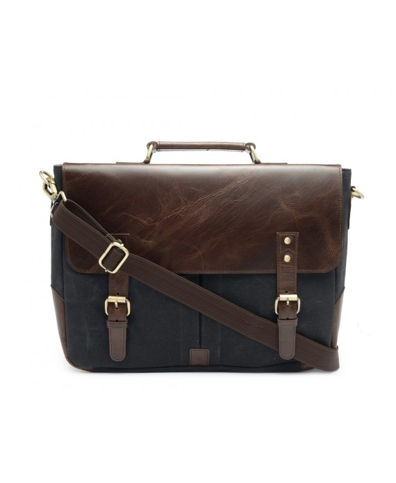 Leather and Canvas Office/Laptop Bag (Dark Tan-Raven Black)