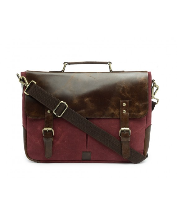 Leather and Canvas Office/Laptop Bag (Dark Tan-Tibetan Red)