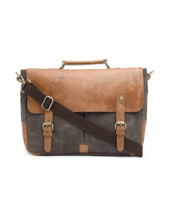 Leather and Canvas Office/Laptop Bag (Tan-Taupe Grey)