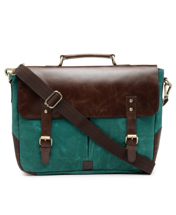 Leather and Canvas Office/Laptop Bag (Dark Tan-Teal)