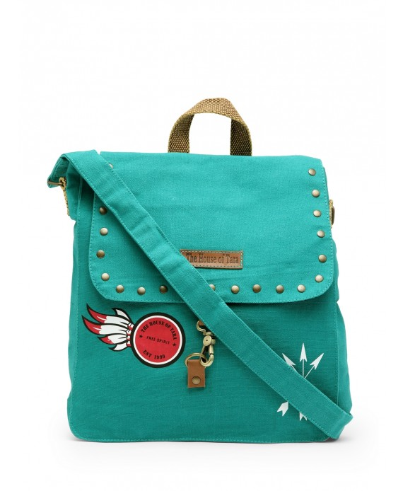 Studded Messenger Bag (Teal)