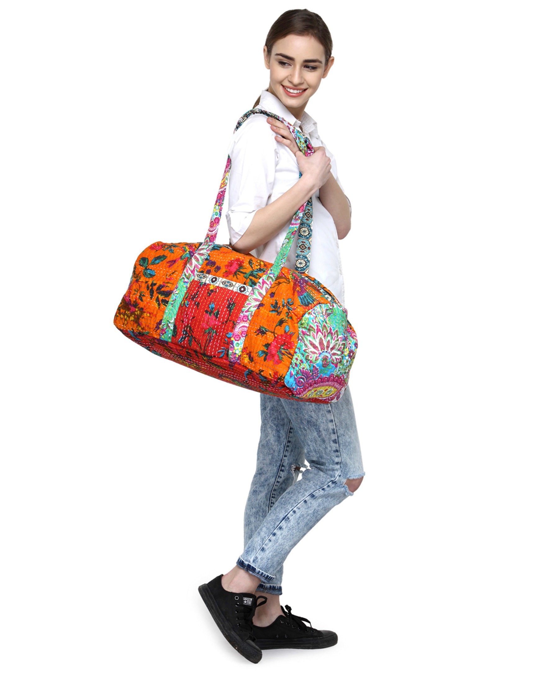 The House of Tara Vintage Fabric Patchwork Duffle Travel Shoulder Bag HTD 130