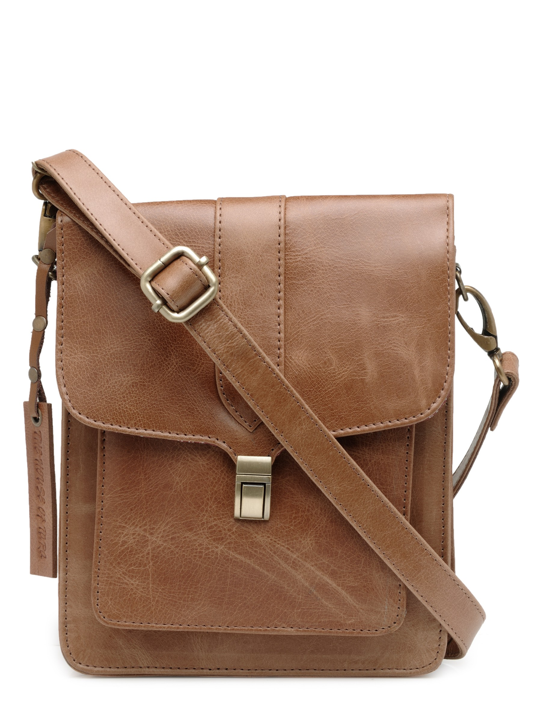 genuine leather unisex crossbody bag distress
