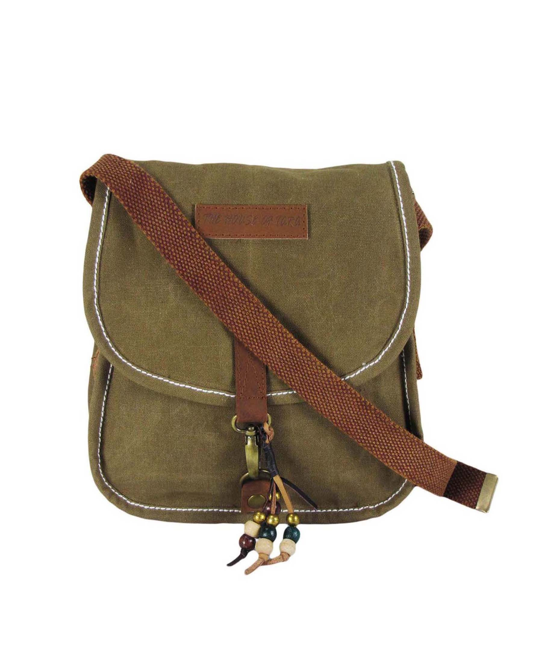 3729a0125884 The House of Tara Women Khaki Canvas Sling Bag