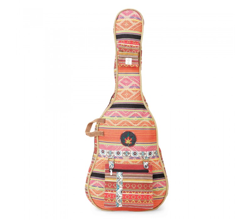Multicolour Patterned Handloom Fabric Guitar Bag Case for Men and Women (HTGC 010)