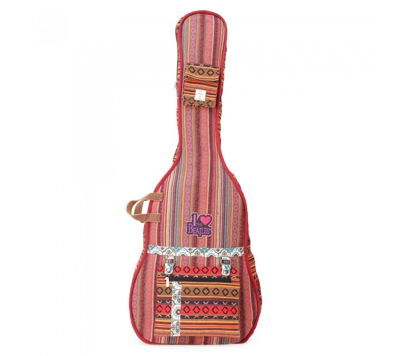 Maroon Multi Patterned Handloom Fabric Guitar Bag Case for Men and Women (HTGC 07)