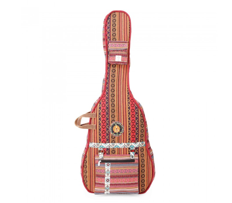 Brown Multi Patterned Handloom Fabric Guitar Bag Case for Men and Women (HTGC 08)