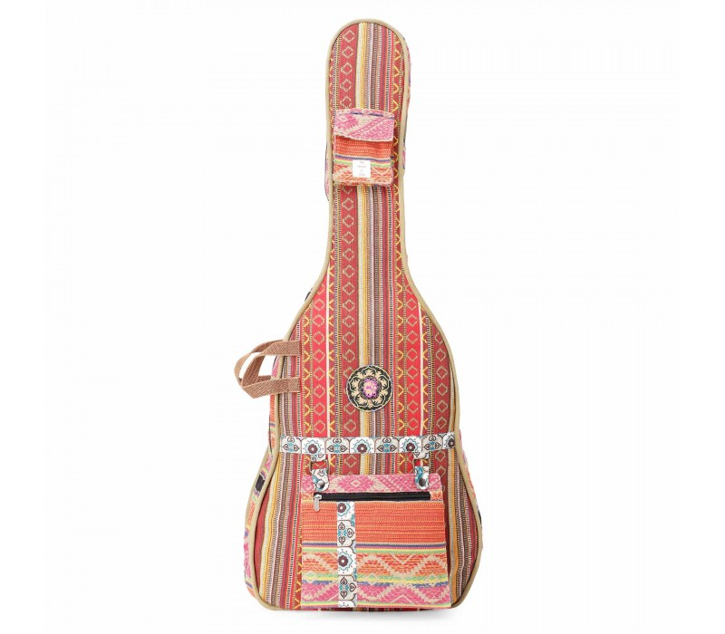 Red Multi Patterned Handloom Fabric Guitar Bag Case for Men and Women (HTGC 09)