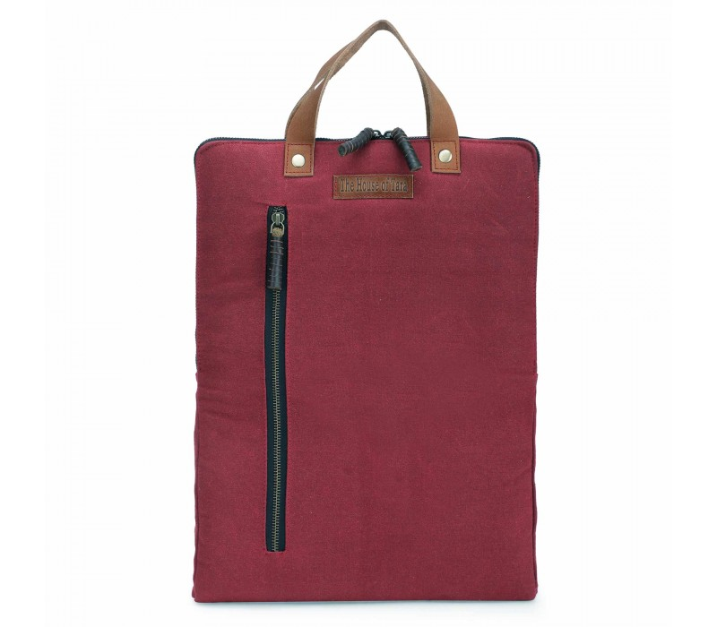 Tibetan Red 3 Ltrs Sturdy Waterproof Canvas Slim Travel Laptop Backpack for Office, College for Men and Women (HTBP 250)