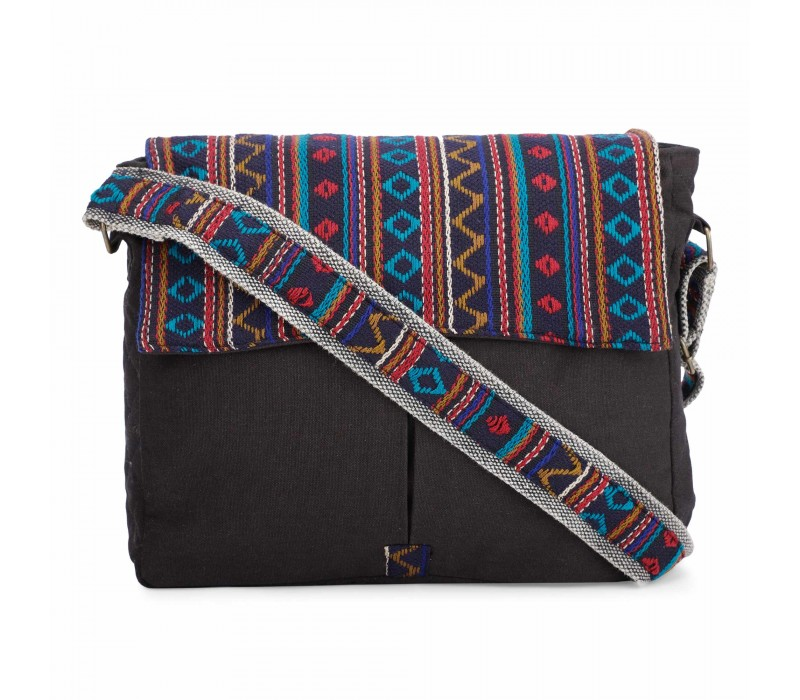 Black Crossbody Canvas Messenger Sling Bag with Handloom Fabric Flap for Women