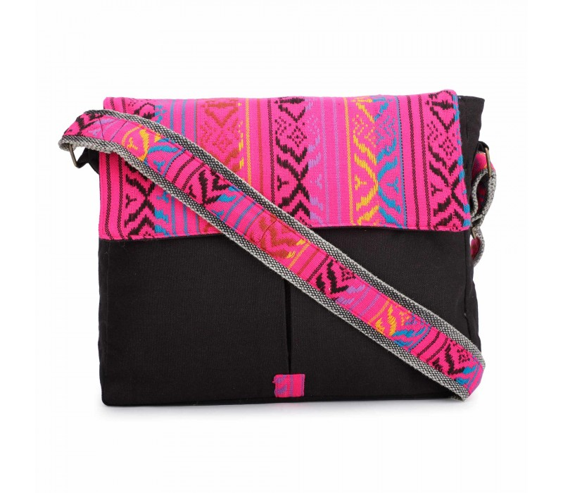 Black and Pink Crossbody Canvas Messenger Sling Bag with Handloom Fabric Flap for Women