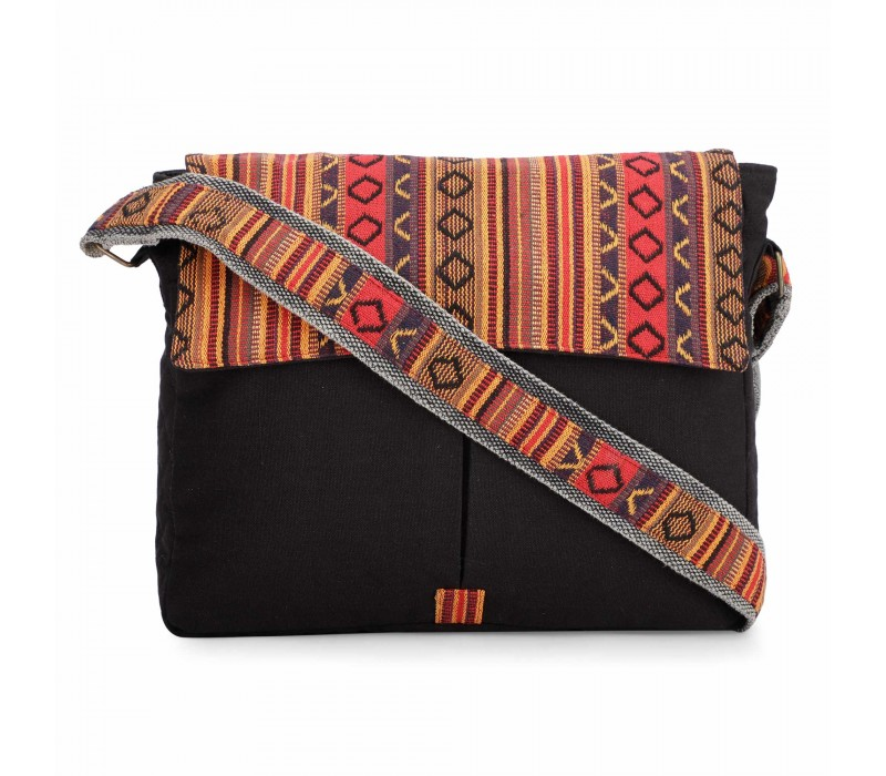 Black and Brown Crossbody Canvas Messenger Sling Bag with Handloom Fabric Flap for Women