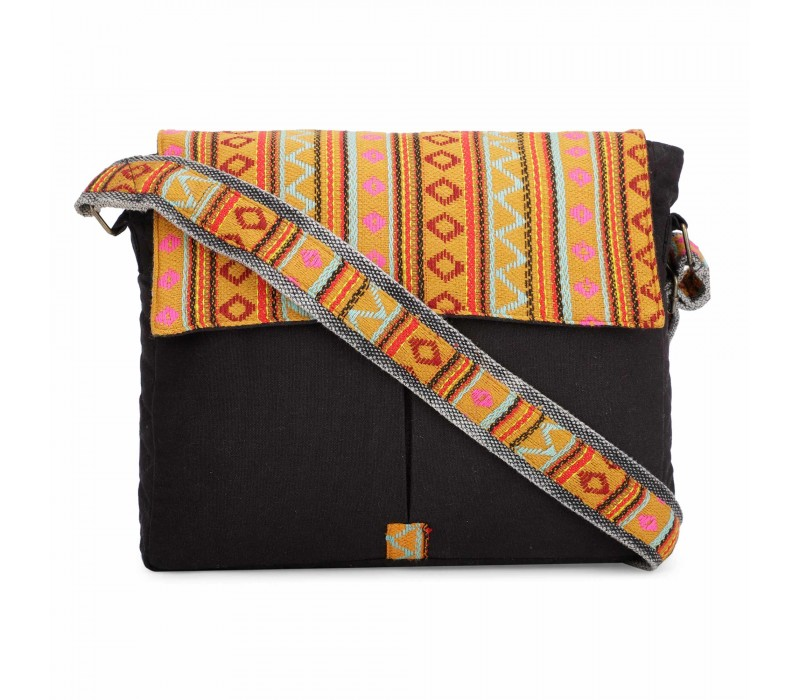 Black and Yellow Crossbody Canvas Messenger Sling Bag with Handloom Fabric Flap for Women
