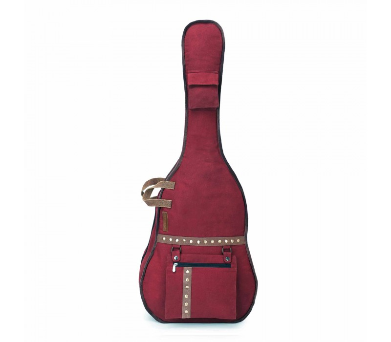 Maroon Canvas Fabric Acoustic Guitar Bag Cover for Men and Women (HTGC 012)