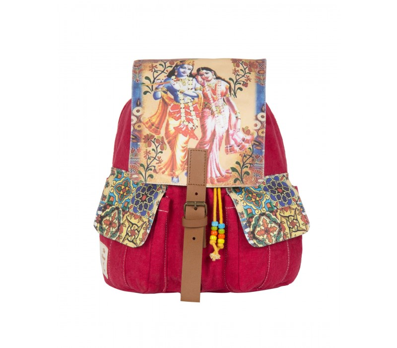 Radha Krishna Print Backpack