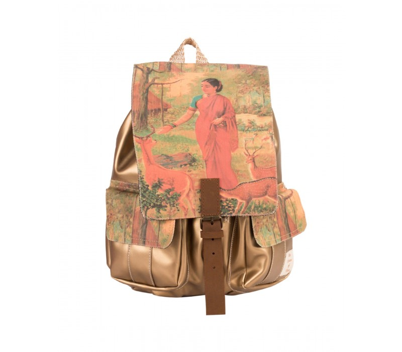 Golden Faux Leather and Canvas Ethnic Art Backpack