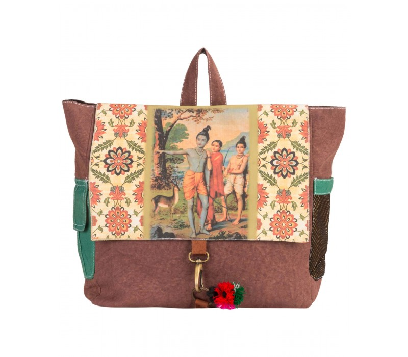 Canvas Ethnic Art Backpack