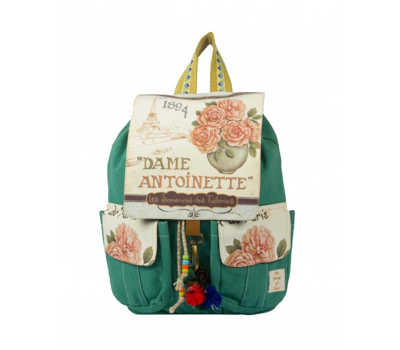 Canvas Printed Flaps Backpack (Teal)