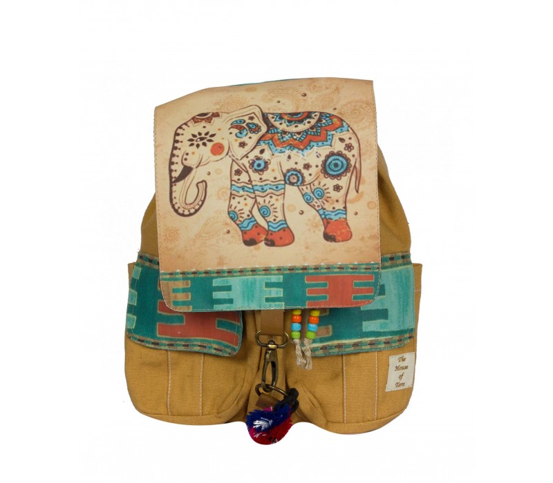 Canvas Printed Flaps Backpack (Desert Sand)