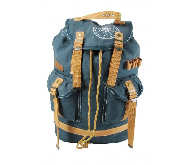 Wax Coated Cotton Canvas Backpack (Combat Blue - HTBP 092)