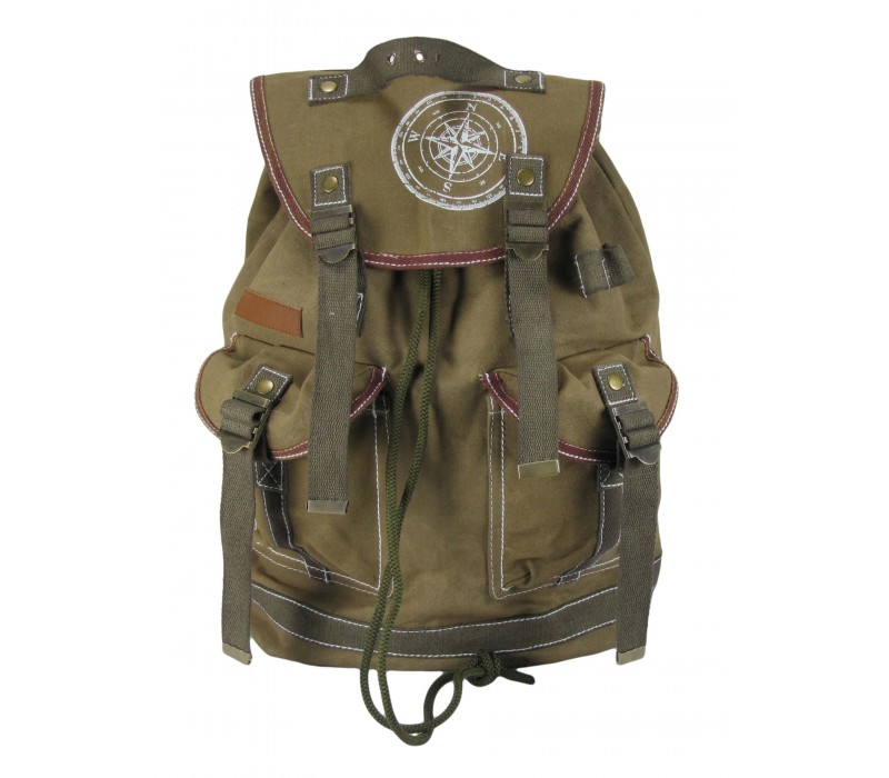 Wax Coated Cotton Canvas Backpack (Khaki)
