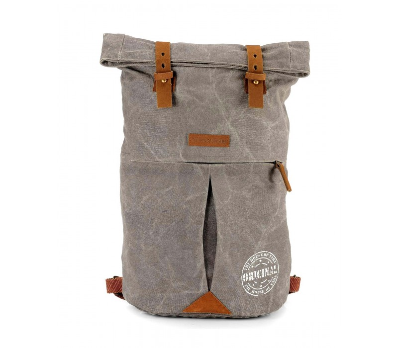 Distress Finish Canvas Backpack (Stone Grey)