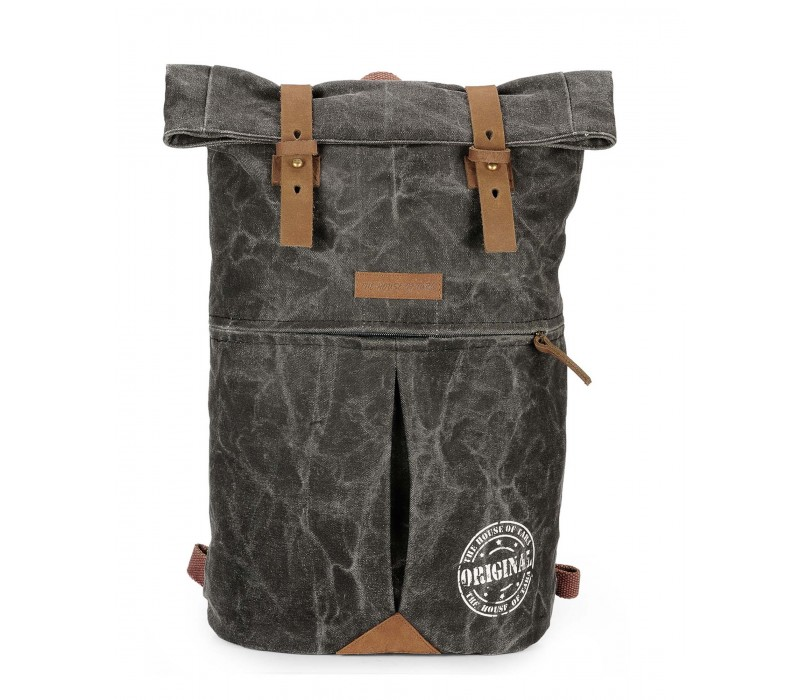 Distress Finish Canvas Backpack (Phantom Black)