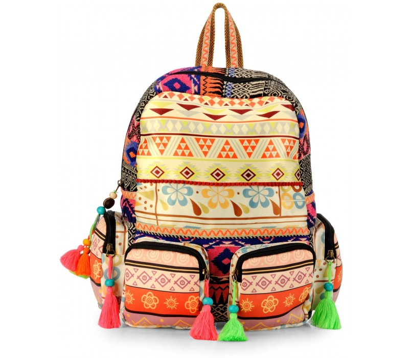 Digital Print Cotton Durrie Backpack (Multi)