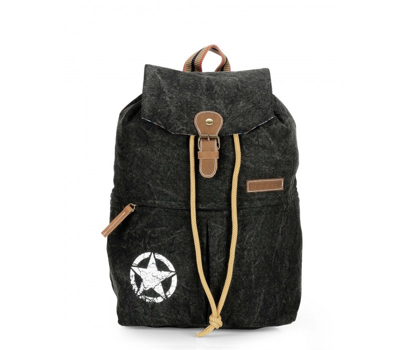 Canvas Backpack (Charcoal Black).