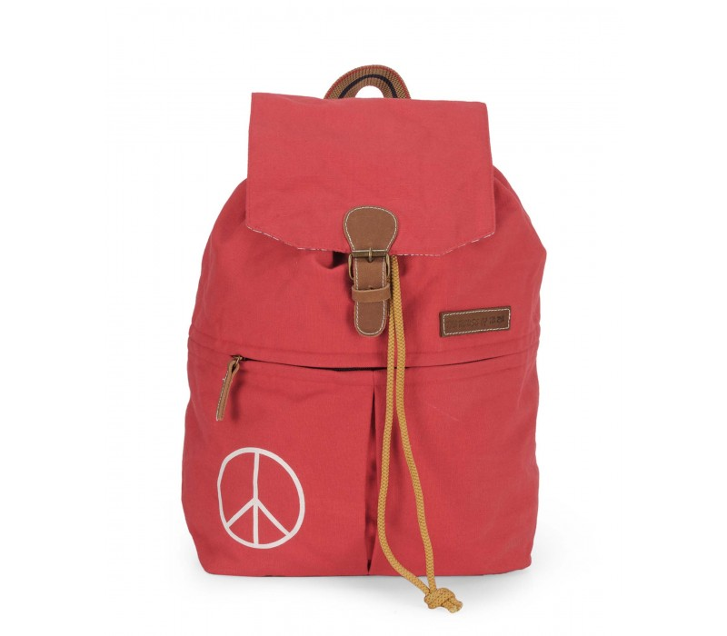 Canvas Backpack (Coral Red).