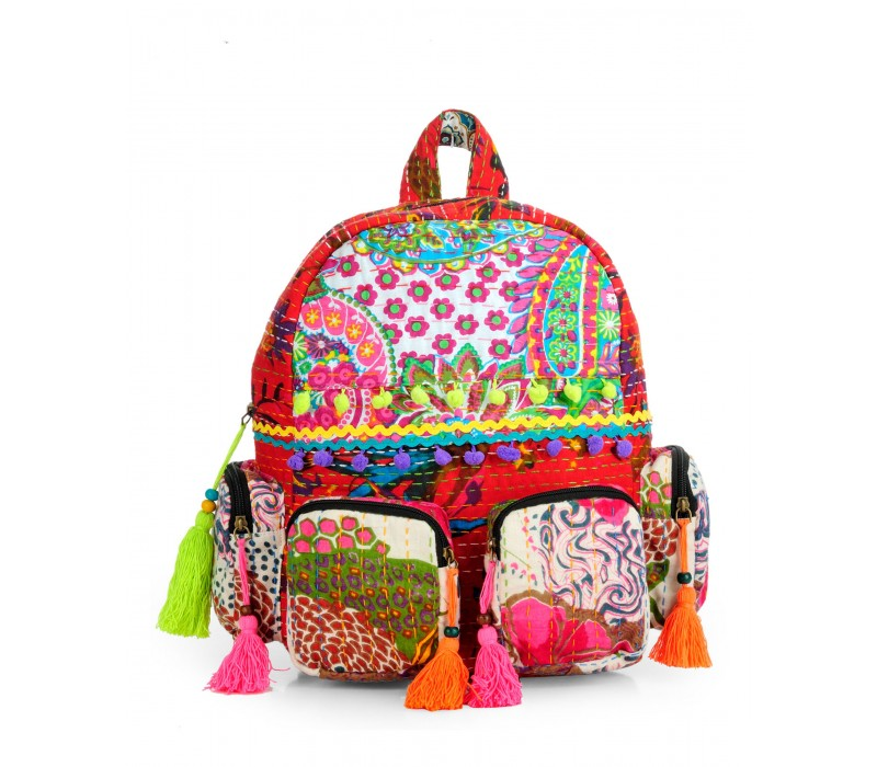 Patchwork Fabric Backpack in Kantha Work HTBP 140
