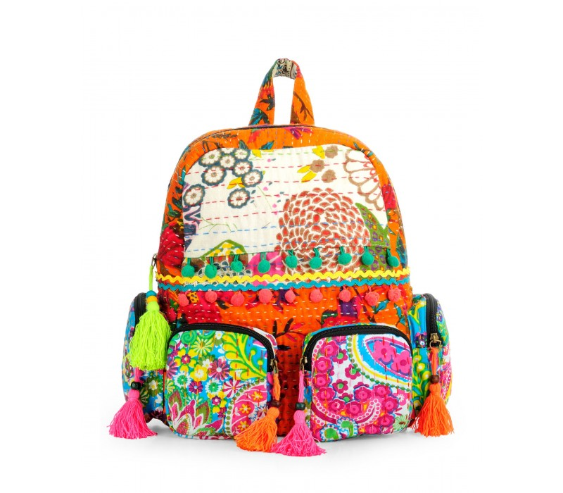 Patchwork Fabric Backpack in Kantha Work HTBP 141