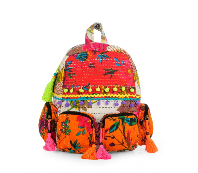 Patchwork Fabric Backpack in Kantha Work HTBP 142