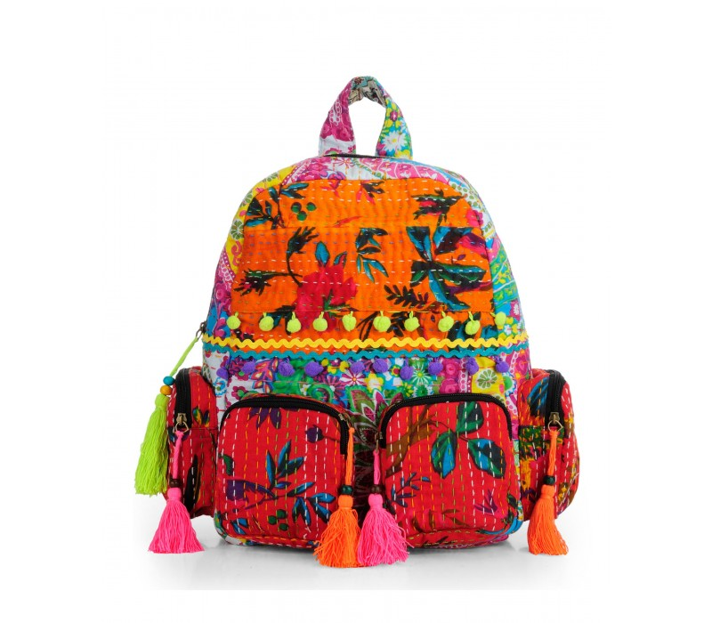 Patchwork Fabric Backpack in Kantha Work HTBP 143
