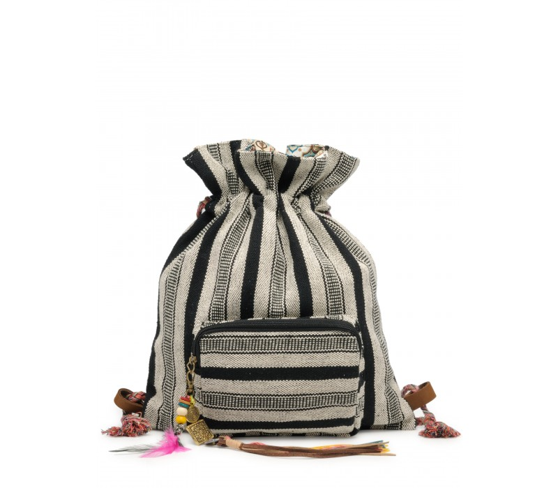 Slim Backpack In Handloom Fabric