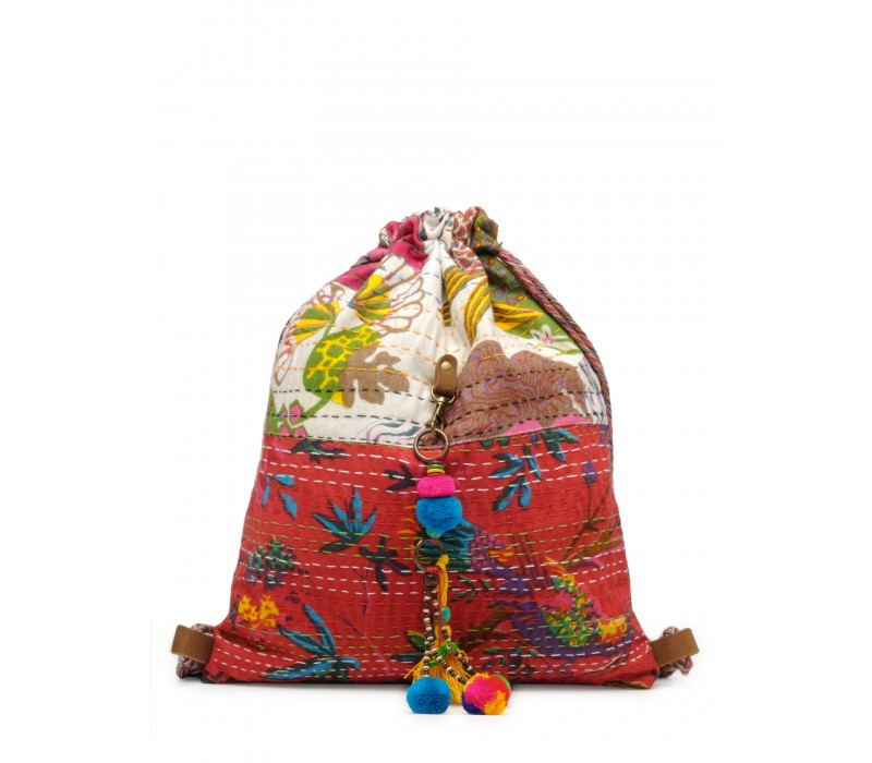 Slim Backpack In Kantha Fabric (HTBP 161)