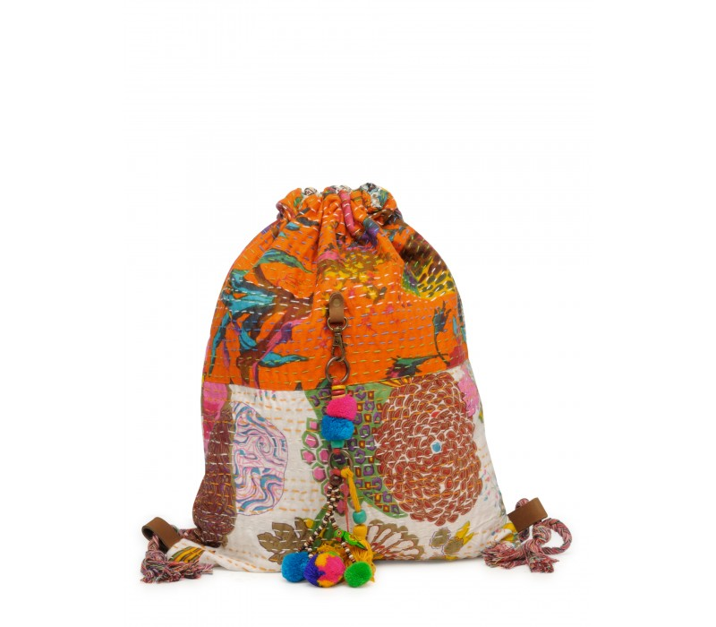 Slim Backpack In Kantha Fabric